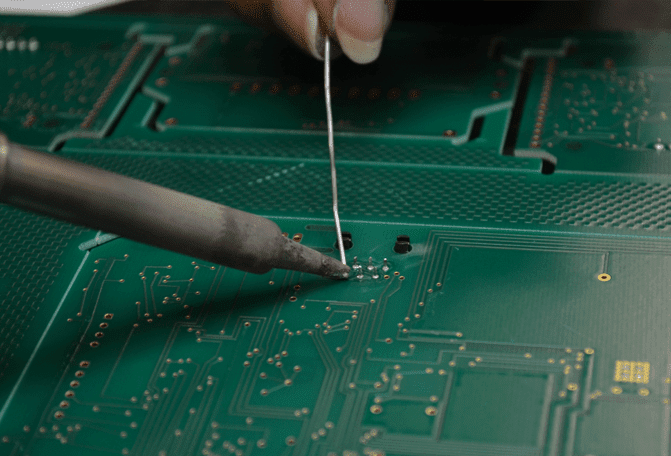 soldering on a circuit board.