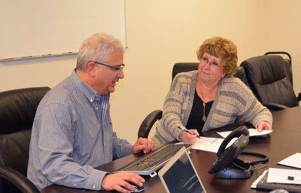 David Levison with a client